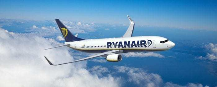 Ryanair airliner in flight