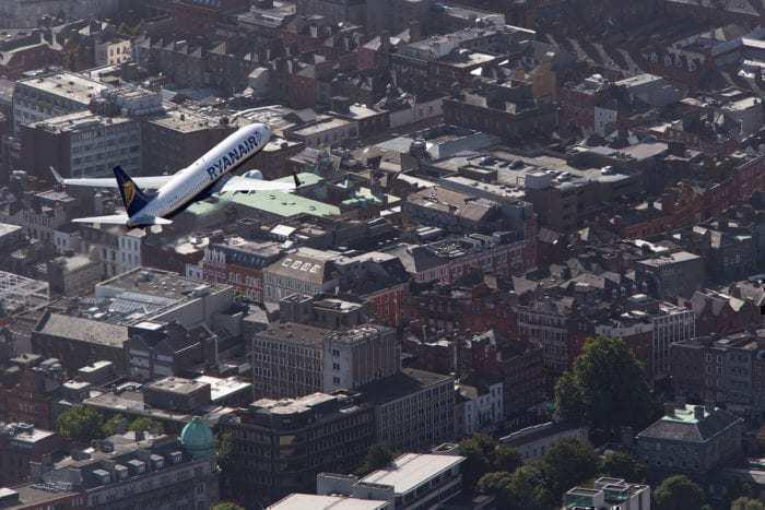 Ryanair airliner flying over Dublin