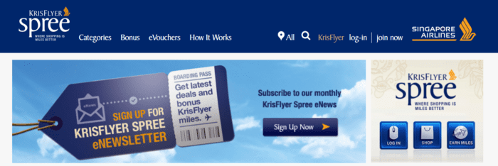 KrisFlyer shopping portal