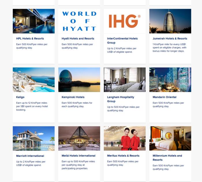 KrisFlyer mileage earning from hotels