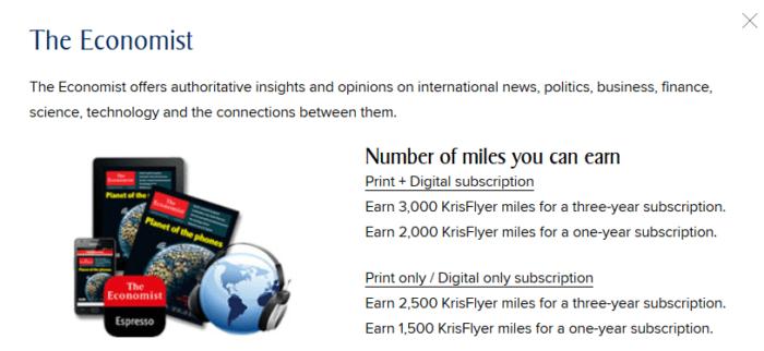 Earn KrisFlyer miles with Economist