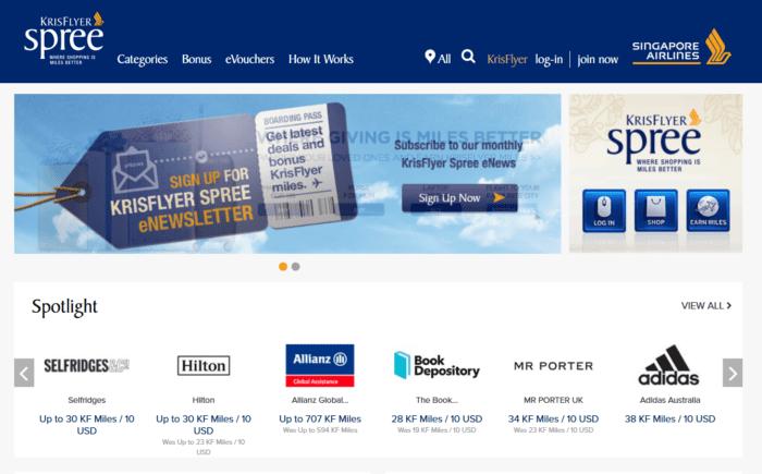 KriFlyer Spree shopping portal