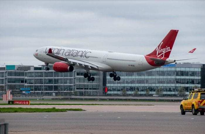 Virgin Atlantic over runway