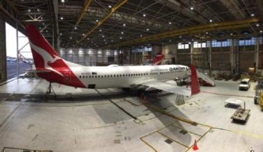 Qantas Airliner in hangar