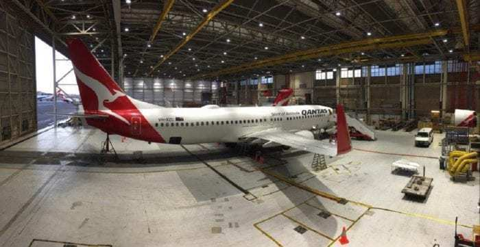 Qantas Airliner in hangar