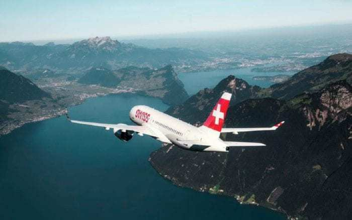 Swiss CS100 over mountains