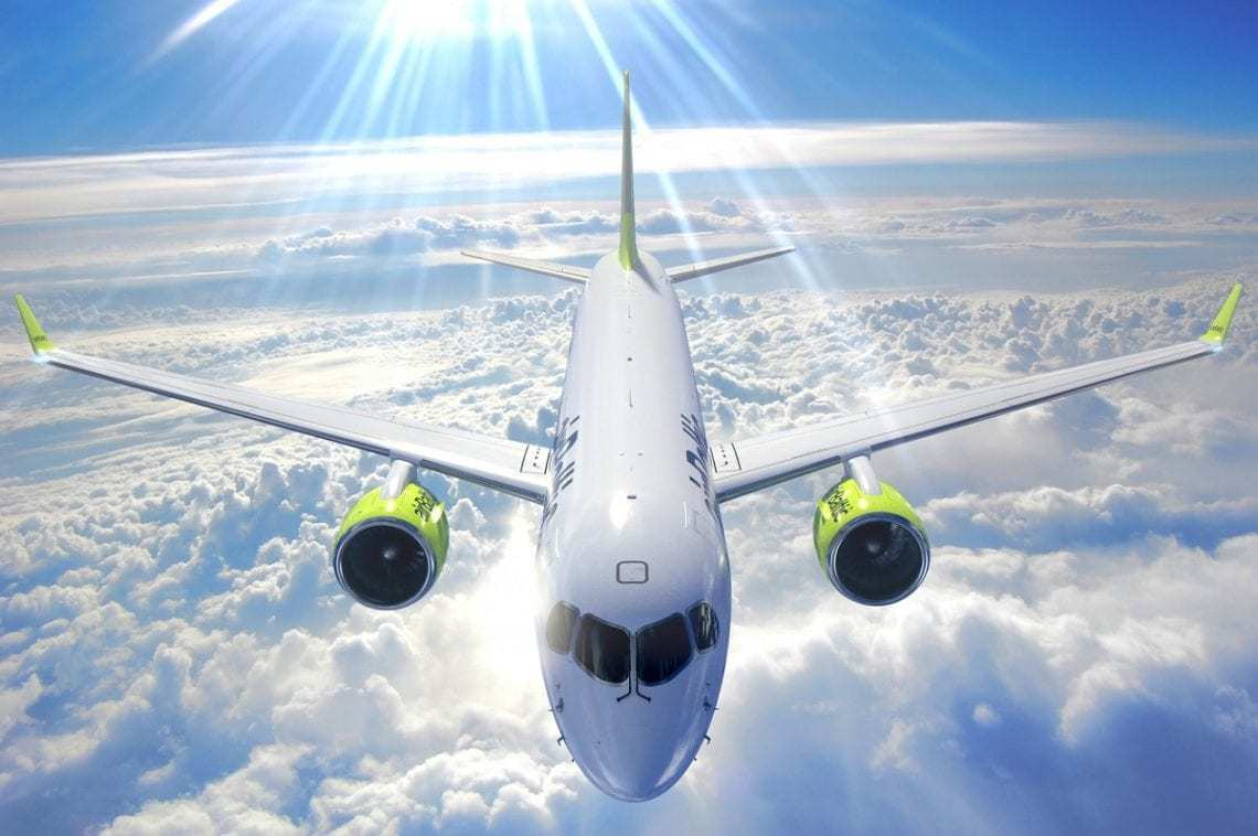 AirBaltic airliner in flight