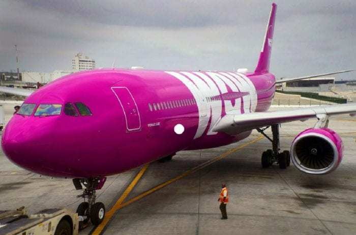 WOW airliner at airport gate