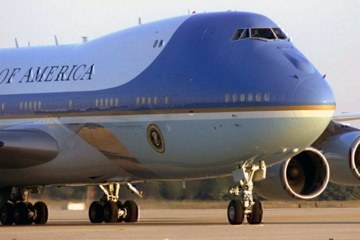 Air Force One 747 Lands At London Stansted Ahead Of Trump Visit