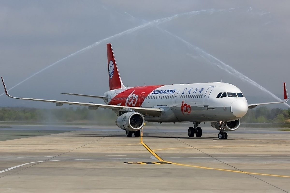 Airbus 321 Sichuan and a water salute