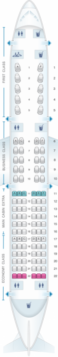 American's A321T seat map