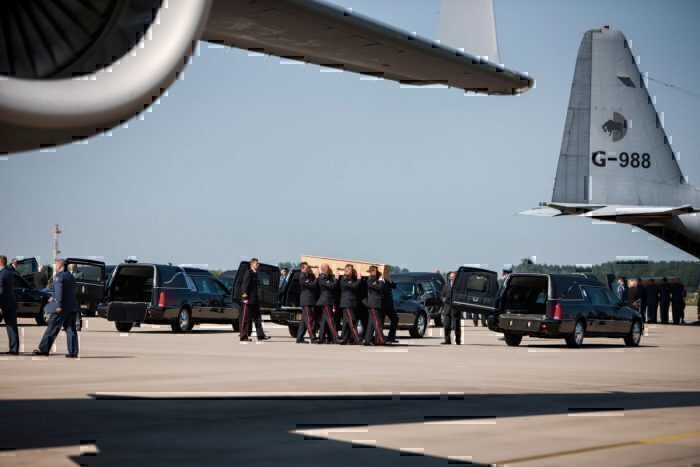 Arrival of corpses from MH17 at Eindhoven Airport.