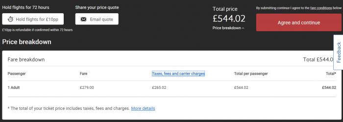 BA total price