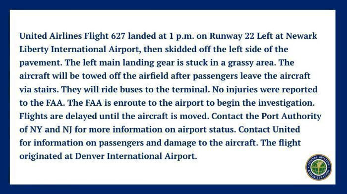 United Airlines Boeing 757 Skids Off Runway At Newark – Damage Reported