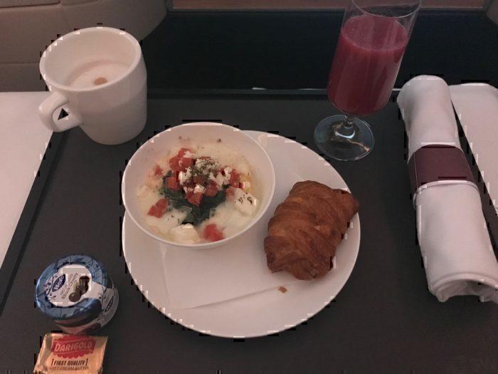 Swiss business class breakfast