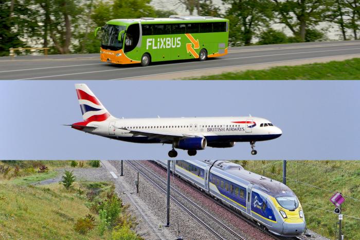 London to Paris Plane Train Bus