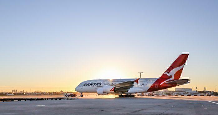 Qantas A380 sunset