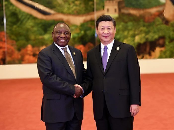 South African President Cyril Ramaphosa with Chinese Leader Xi Jinping at the 2018 Forum on China-Africa Cooperation