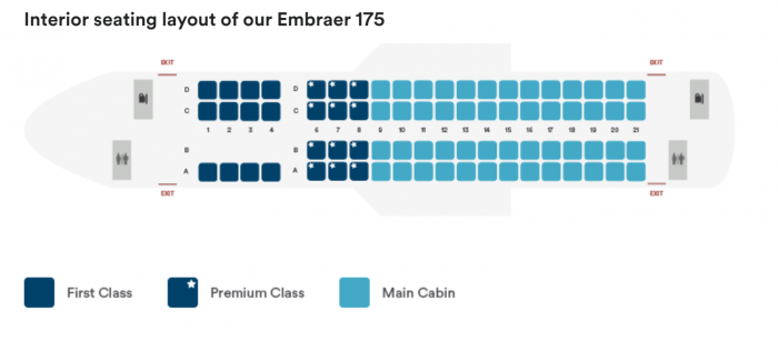 Seat map of Alaska Airlines E175