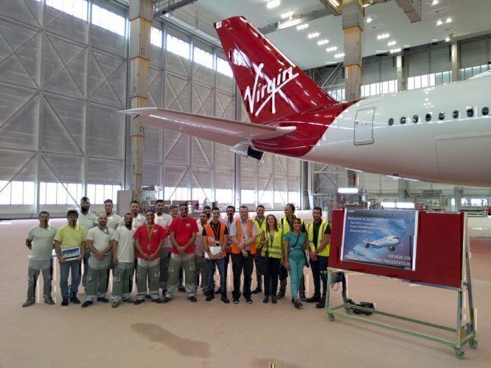 Virgins airbus paint team