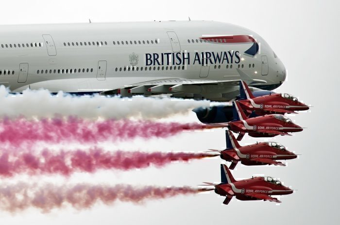BA plane and the Red Arrows