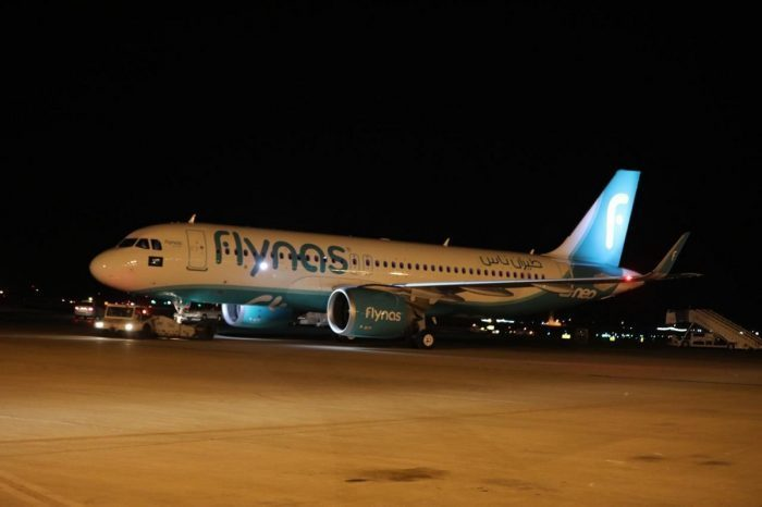 Flynas airliner at airport gate in dark
