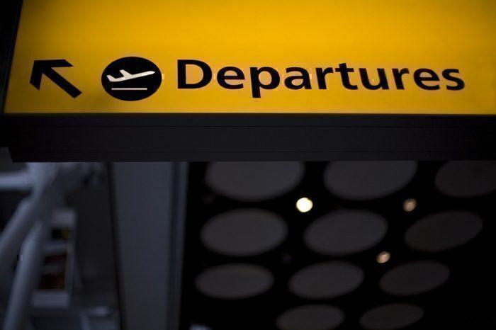 Departures sign, Heathrow airport