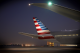American airlines tail-fin night shot