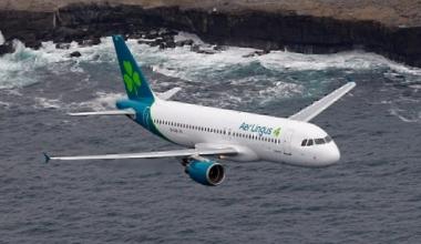 Aer Lingus aircraft over coastline