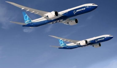 2 B777Xs in flight (rendering)