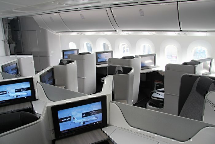Business class seats inside a Boeing 737 MAX