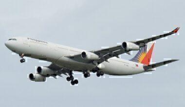 Philippine Airlines A340 coming in to land at Bangkok's Suvarnabhumi International Airport (BKK)