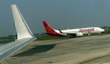 SpiceJet flight on the runway