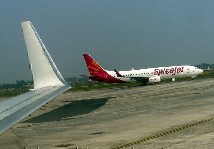 SpiceJet flight on the runway
