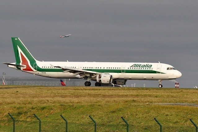 Alitalia jet readying for takeoff.