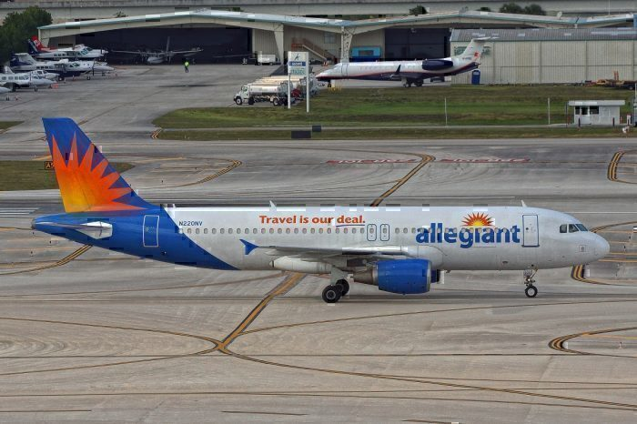 Allegiant airliner on taxiway