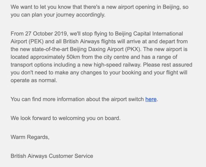 British Airways Beijing Daxing Airport