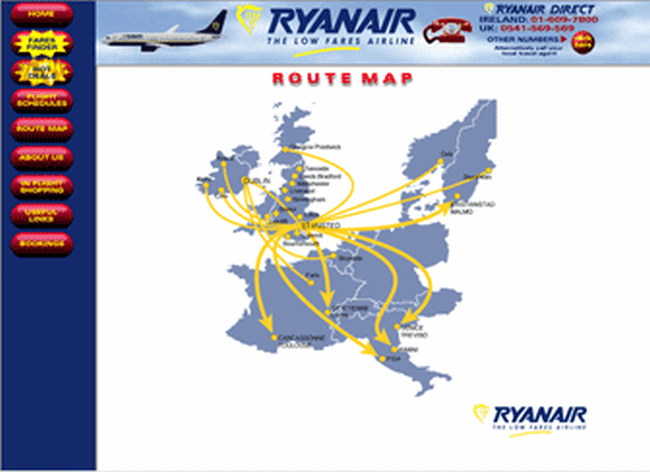 Ryanair History First Website