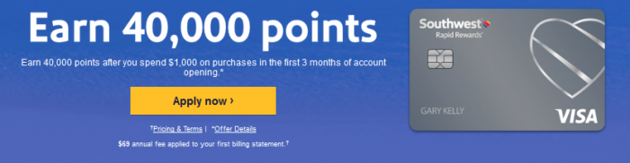 Southwest Rapid Rewards card sign up bonus