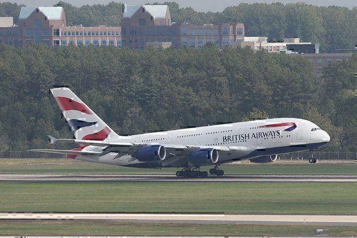 BA A380 on runway