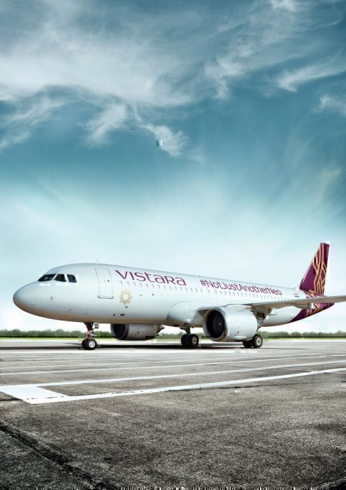 Vistara airliner on ground