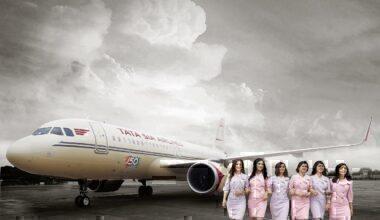 Vistara airline with flight crew on ground