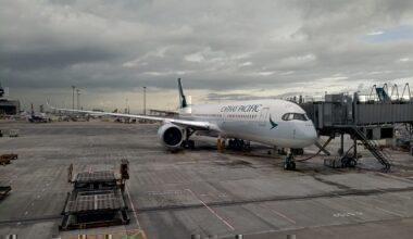 A Cathay Pacific Airbus A350 at Hong Kong International Airport