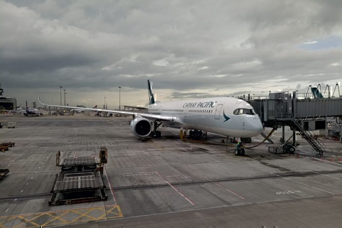 A Cathay Pacific Airbus A350 at Hong Kong International Airport