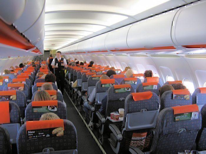 An easyJet A319 interior