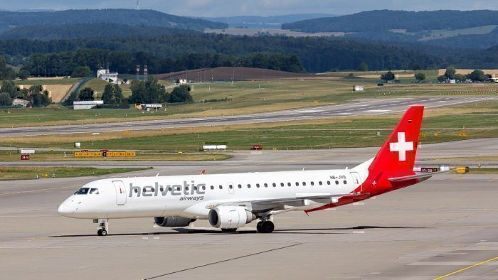 A Helvetic Embraer E190 at Zurich Airport.