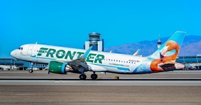 A Frontier Airlines Airbus A320 at Las Vegas