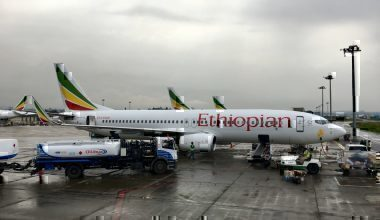 An Ethiopian Airlines Boeing 737 at Addis Ababa