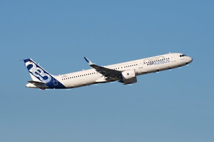 An Airbus A320neo test rig in flight