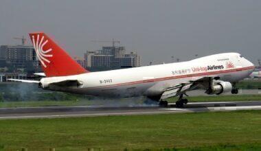 A Uni-Top Airlines 747 landing